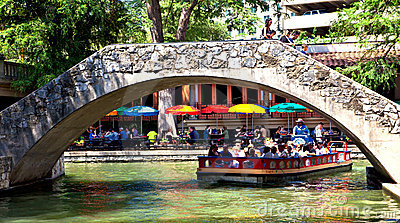 san antonio riverwalk bridges editorial photo image