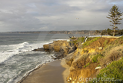 San Diego Beach with Pacific Ocean Waves