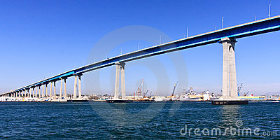 San Diego - Coronado Bridge and  Navy Ships