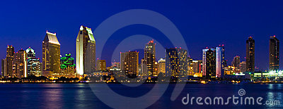 San Diego Downtown Harbor Coronado Bay Dusk Night