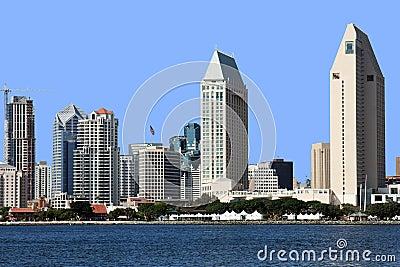 A San Diego skyline close-up.