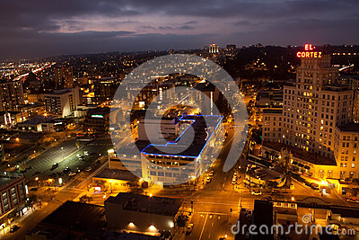 San Diego Skyline at night Editorial Stock Photo