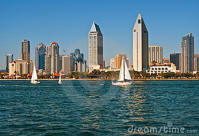 San Diego Skyline with Sailboats, California