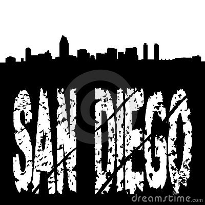San Diego text with skyline