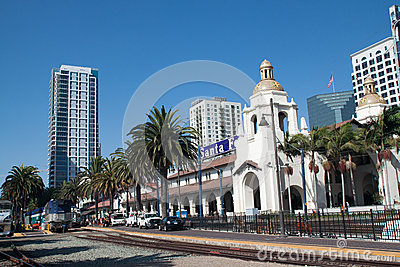 SAN DIEGO, USA - AUGUST 30: train arrives at Union Editorial Photography