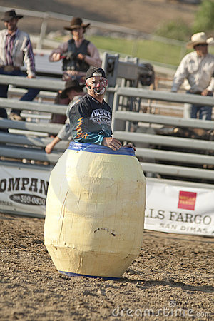 San Dimas Rodeo Clown in Barrel Editorial Stock Image