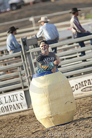 San Dimas Rodeo Clown in Barrel Editorial Image