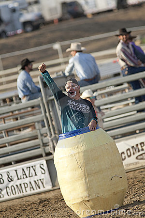 San Dimas Rodeo Clown in Barrel Editorial Image