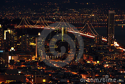 San francisco bay bridge at night