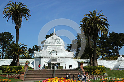 The Conservatory of Flowers building at the Golden Gate Park in San Francisco Editorial Image