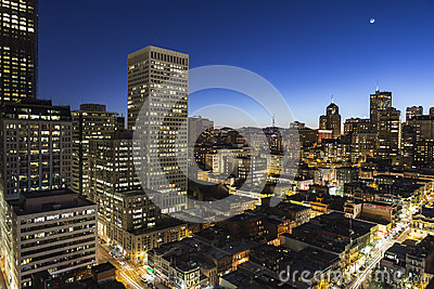 San Francisco California Chinatown Dusk View Editorial Image