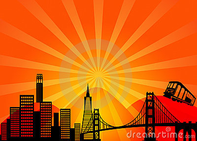 San Francisco California City Skyline Clipart