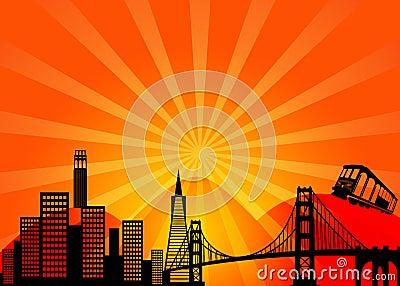 San Francisco California City Skyline Clipart