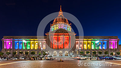 San Francisco City Hall in Rainbow Colors Editorial Photo