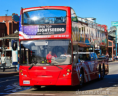 San Francisco double decker sightseeing bus Editorial Stock Photo