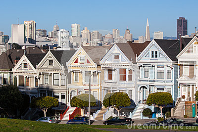 San Francisco Downtown Area from Alamo Square Park