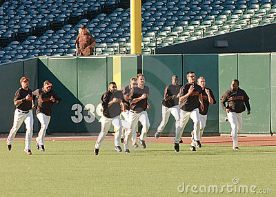 San Francisco Giants warming up pregame Editorial Stock Image
