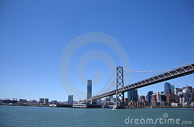 San Francisco half of the Bay Bridge from water