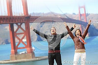 San Francisco happy people at Golden Gate Bridge