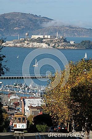 San Francisco Hyde Street View (Alcatraz and cablecar)