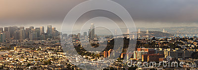 San Francisco Panorama on Foggy Summer Afternoon