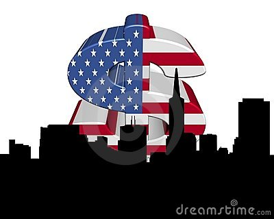 San Francisco skyline American flag dollar