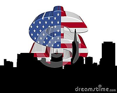 San Francisco skyline American flag dollar