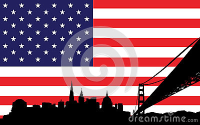 San Francisco Skyline and flag of USA