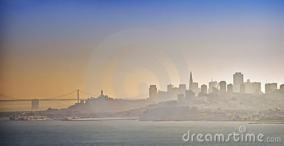 San Francisco Skyline in Fog, California