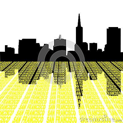 San Francisco Skyline with text