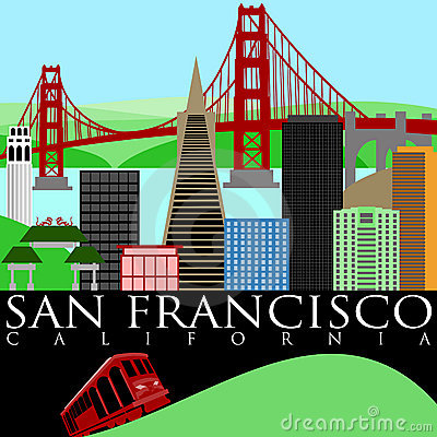 Free San Francisco Skyline With Golden Gate Bridge Royalty Free Stock Photos - 17631918