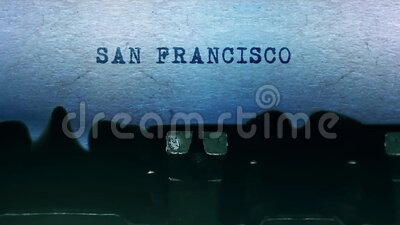 SAN FRANCISCO words Typing on a sheet of paper with an old vintage typewriter. stock video