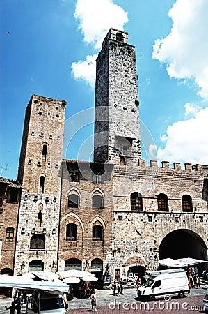 San Gimignano, square, Tuscany, Italy Editorial Image