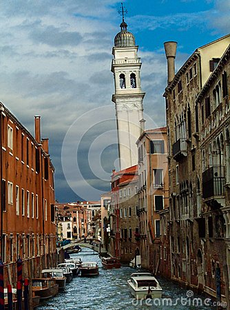 Free San Giorgio Dei Greci Water Canal And Church Campanile. Stock Photos - 66353423