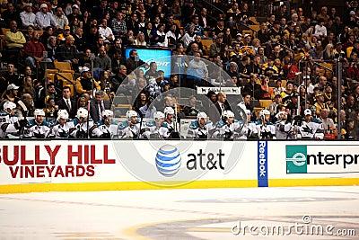 San Jose Sharks bench Editorial Stock Image