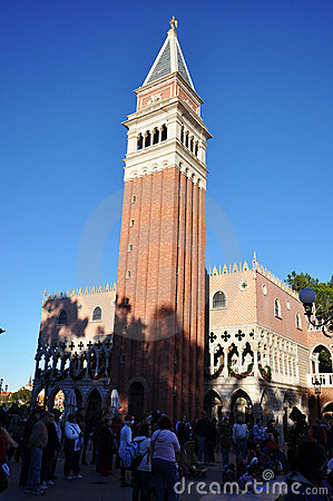 San Mark s Campanile in Disney Epcot, Orlando Editorial Photo