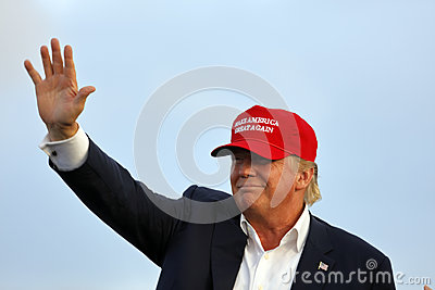 SAN PEDRO, CA - SEPTEMBER 15, 2015: Donald Trump, 2016 Republican presidential candidate, waves during a rally aboard the Battlesh Editorial Stock Image