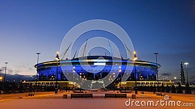 San Pietroburgo, Russia-gennaio 2020: Arena di Zenit d'inverno a San Pietroburgo di notte Concetto Nuovo stadio di calcio archivi video