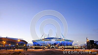 San Pietroburgo, Russia-gennaio 2020: Arena di Zenit d'inverno a San Pietroburgo di notte Concetto Nuovo stadio di calcio stock footage