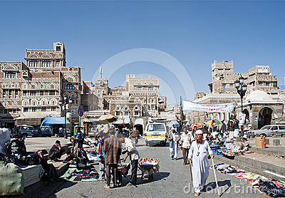 Sanaa city yemen street scene at bab yemen square Editorial Stock Image