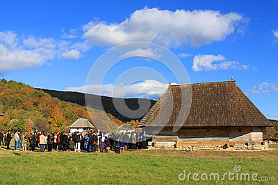 Sanctification of old wooden orthodox churches Editorial Stock Photo