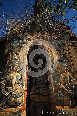 Sanctuary Buddhas in pagodas near Inle lake.