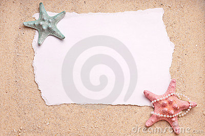 Sand Background with Two Starfish Blank Sign