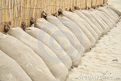 Sand bags on the beach