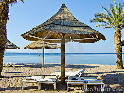 Sand beach of Eilat city, Israel