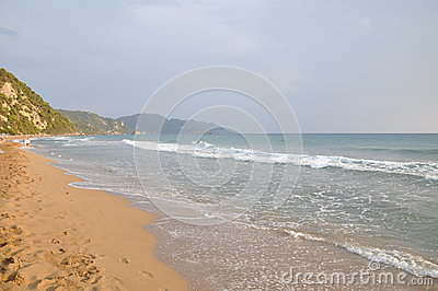 Sand beach at sunset - Corfu, Ionian Islands, Greek Islands, Mediterranean sea, Greece, Europe