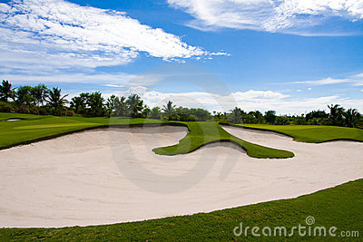 Sand bunker in the golf course