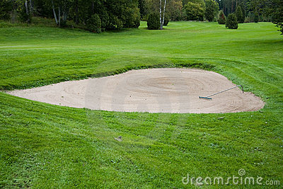 Sand bunker on golf course