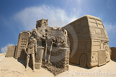 Sand carving of a London street scene Editorial Photography