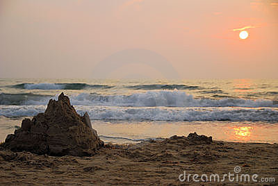 Sand castle at sunrise